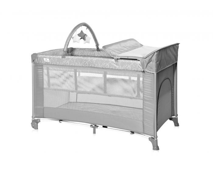 Patut pliant Torino Plus Lorelli Grey, 2 nivele cu accesorii, Gri