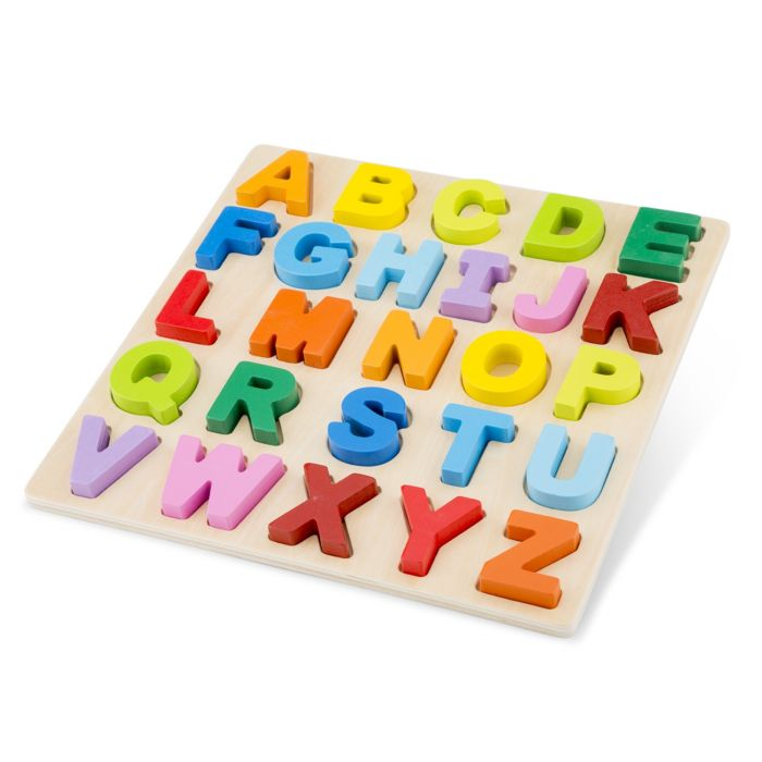 Puzzle Alfabet litere mari New Classic Toys, din lemn, 36 luni+
