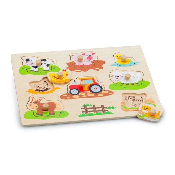 Puzzle Ferma New Classic Toys, din lemn, 36 luni+