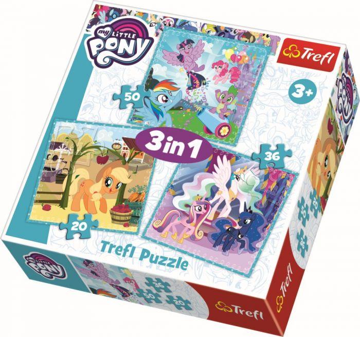 Puzzle 3In1 Ponei fericiti Trefl, 20 piese, 3 ani+
