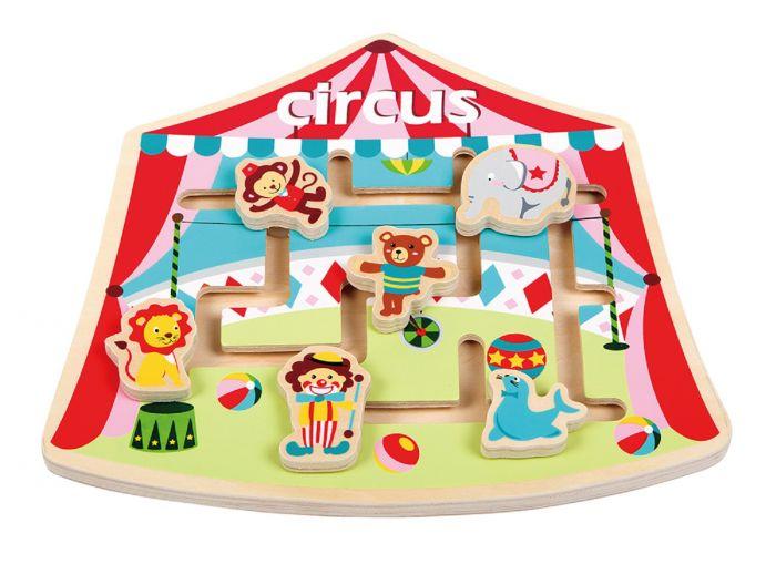Puzzle labirint La Circ New Classic Toys, din lemn, 24 luni+