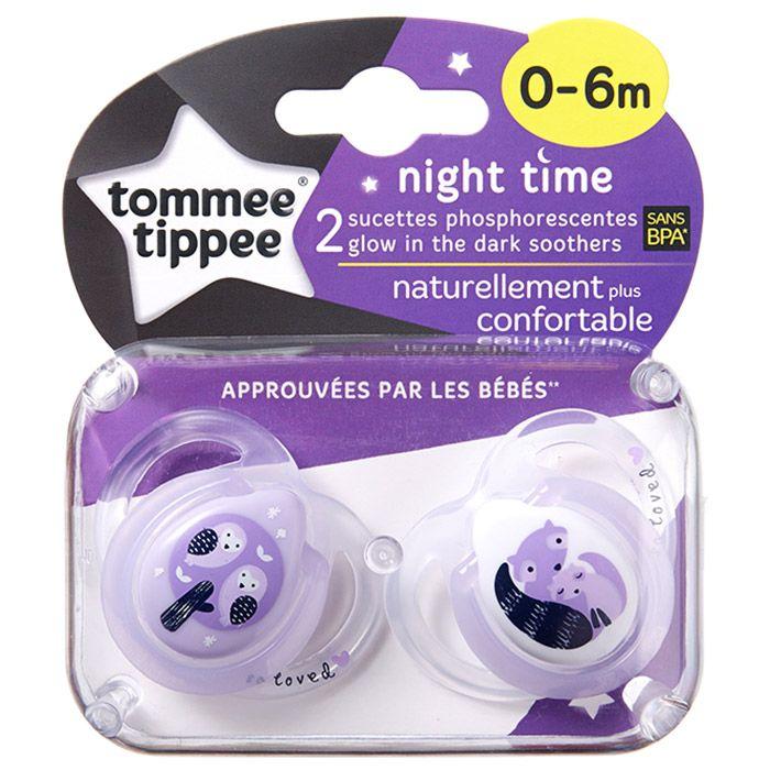 Tommee Tippee suzete ortodontice de noapte 0 - 6 luni 2 buc mov