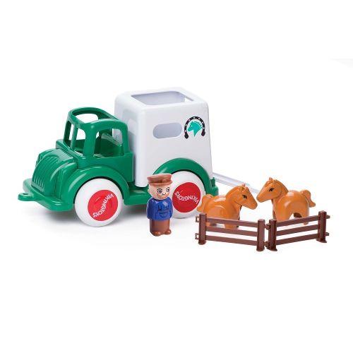 Camion Transport Cai cu figurine Jumbo VikingToys, 12 luni+