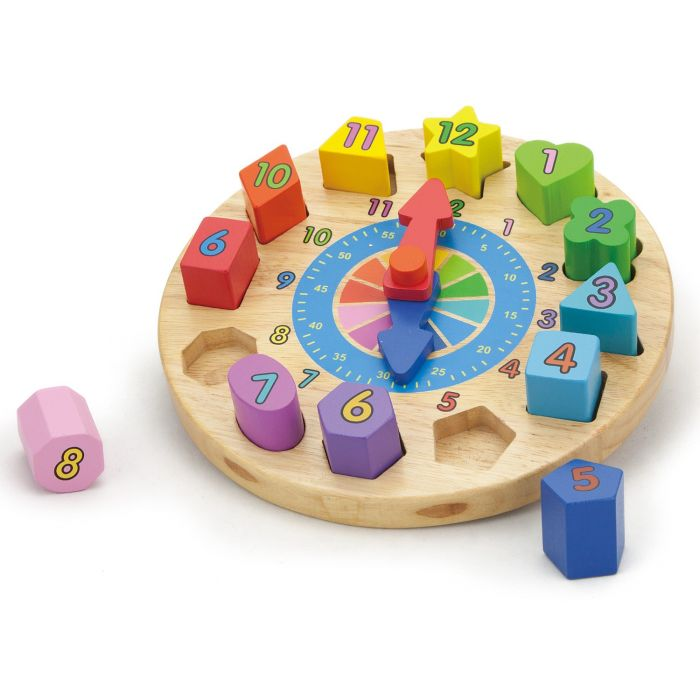 Ceas New Classic Toys, din lemn, 24 luni+