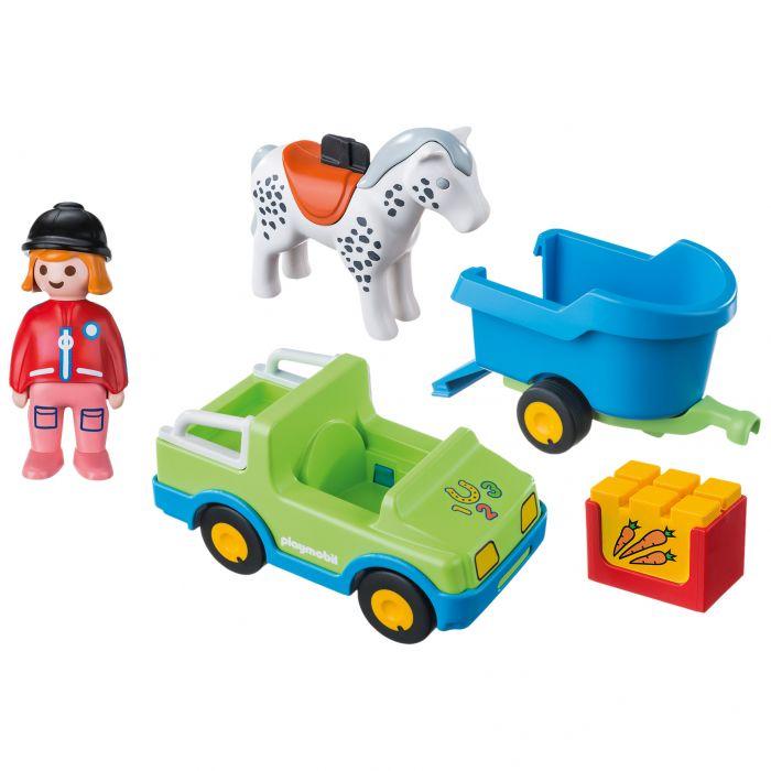 Set figurina masina cu remorca si cal Playmobil