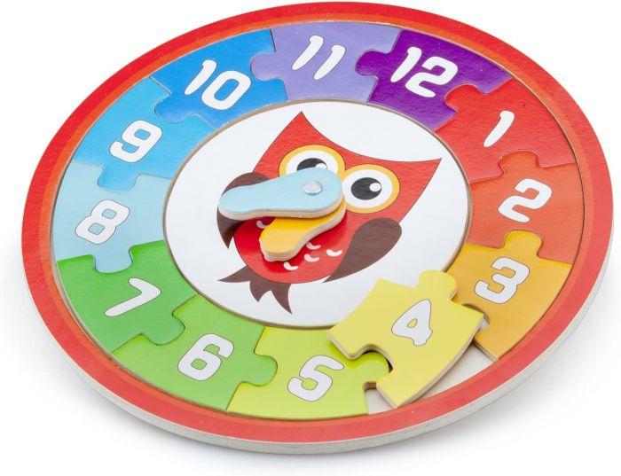 Puzzle ceas Bufnita New Classic Toys, din lemn, 24 luni+