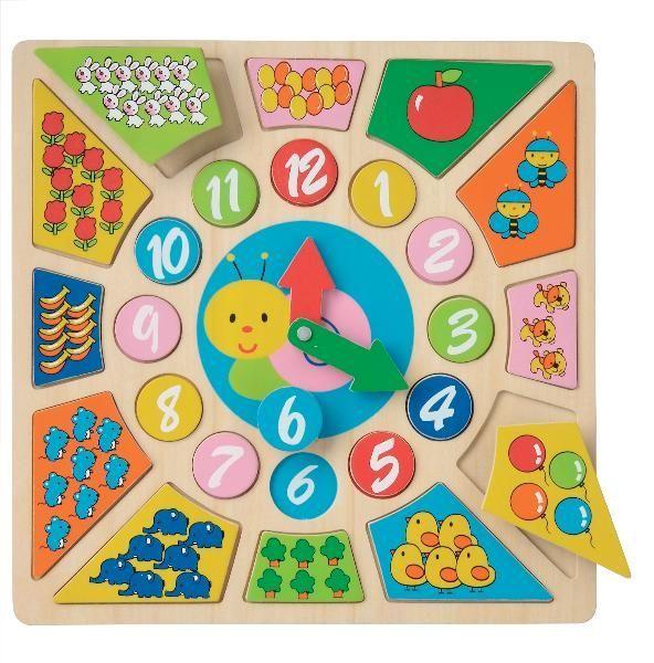 Ceas educativ New Classic Toys, din lemn, 18 luni+