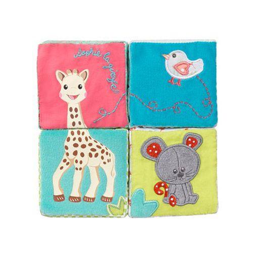 cuburi educative girafa sophie textil vulli multicolor