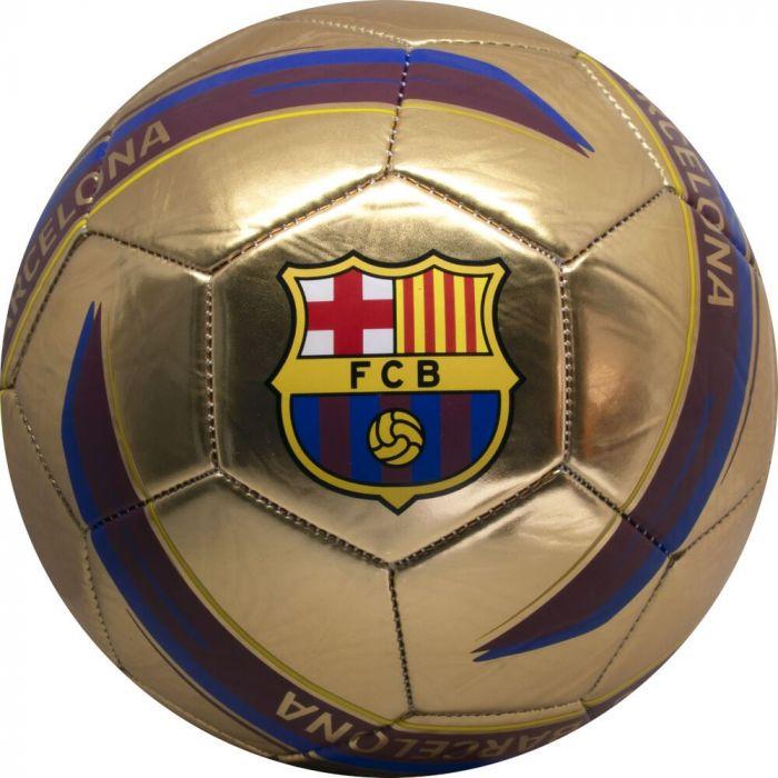 Minge de fotbal FC Barcelona Logo GOLD, marimea 5, metalica