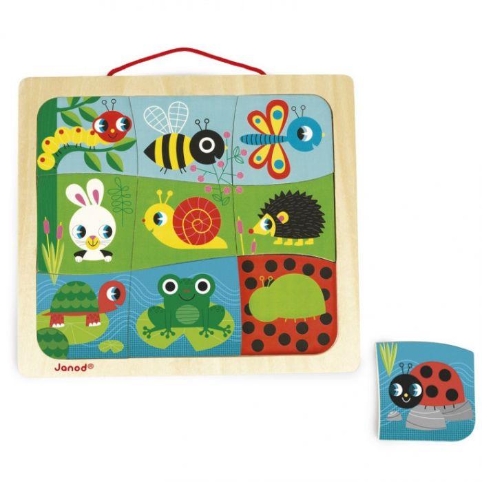 puzzle magnetic 9 piese animale gradina janod