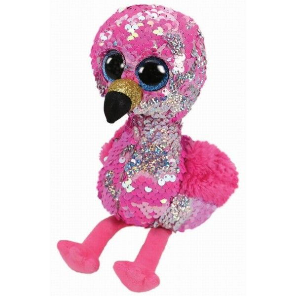 Plus Boos, Flamingo Roz Cu Paiete TY, 24 cm, 3 ani+