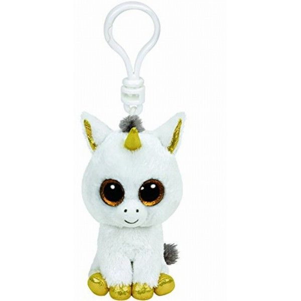 Plus Breloc, Boos Unicorn Alb Pegasus TY, 8.5 cm, 3 ani+