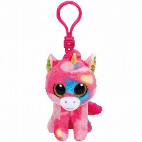 Plus Breloc, Boos Unicorn Multicolor TY, 8.5 cm, 3 ani