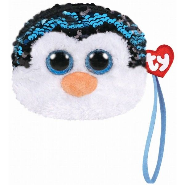 Gentuta De Mana Din Plus, Pinguinul Waddles  Cu Paiete TY, 10 cm, 3 ani+