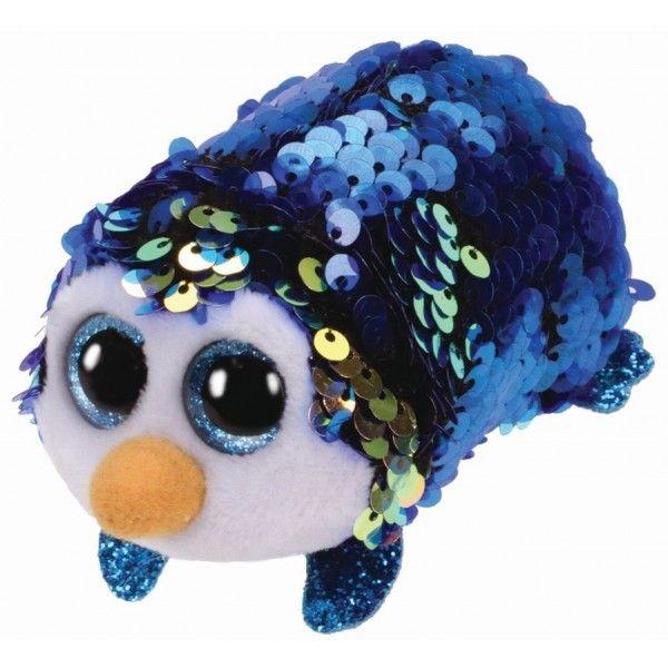 Plus Teeny Tys Payton, Pinguin Albastru Cu Paiete TY, 10 cm, 3 ani+