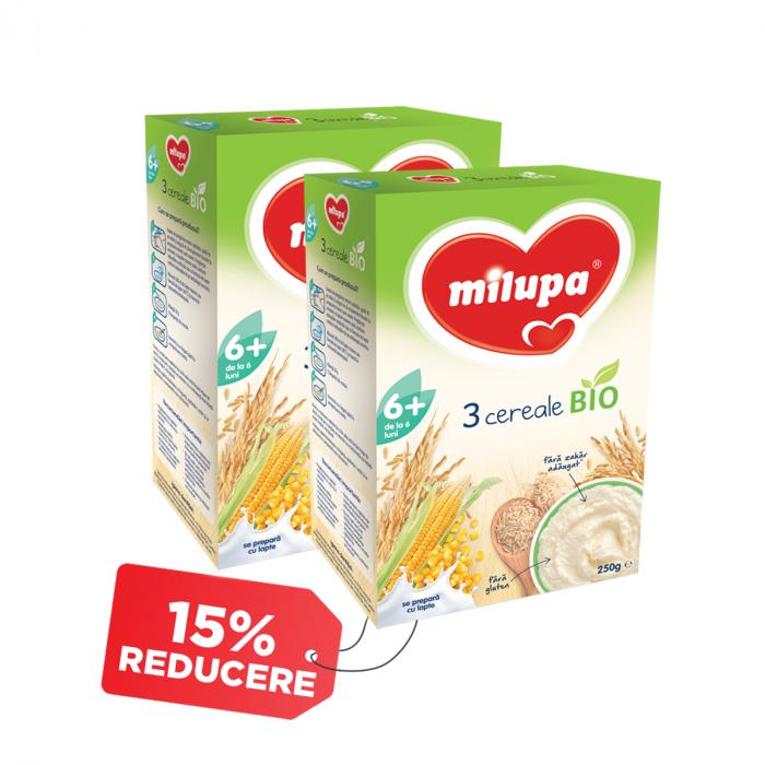 Pachet 2 x Cereale Milupa Bio 3 Cereale, 250 g, 6 luni+