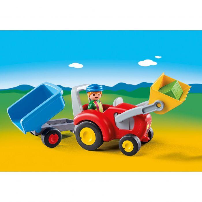 set figurine tractor cu remorca jucarii playmobil