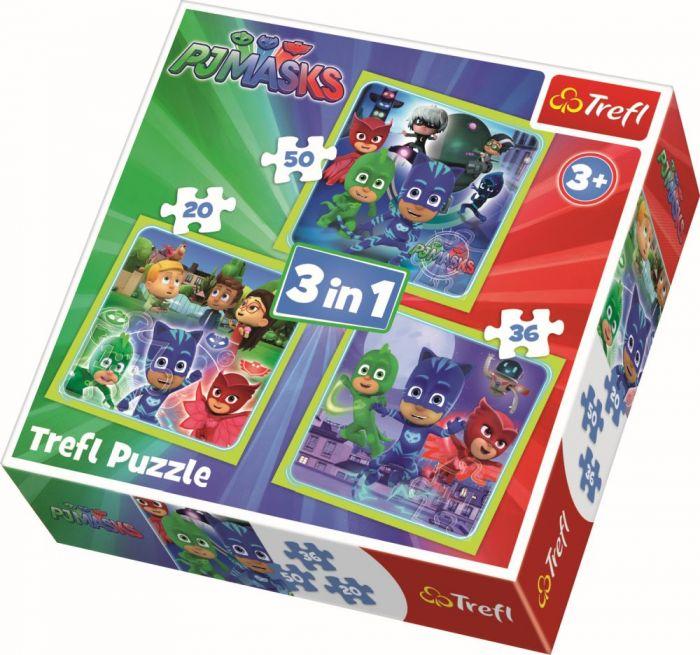 Puzzle 3 in 1 Pregatiti de actiune Trefl, 106 piese, 3 ani+