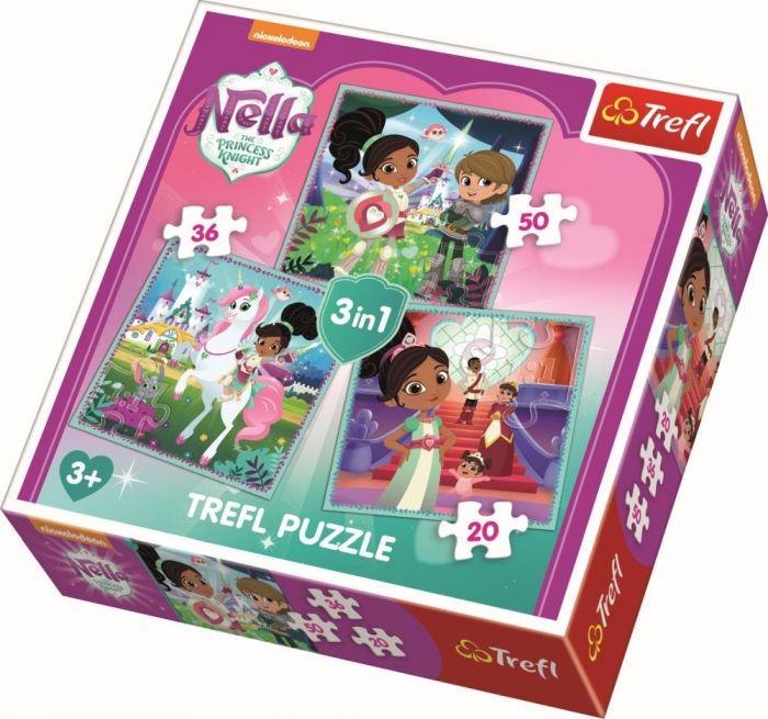 Puzzle 3 in 1 Printesa cavaler Trefl, 106 piese, 3 ani+