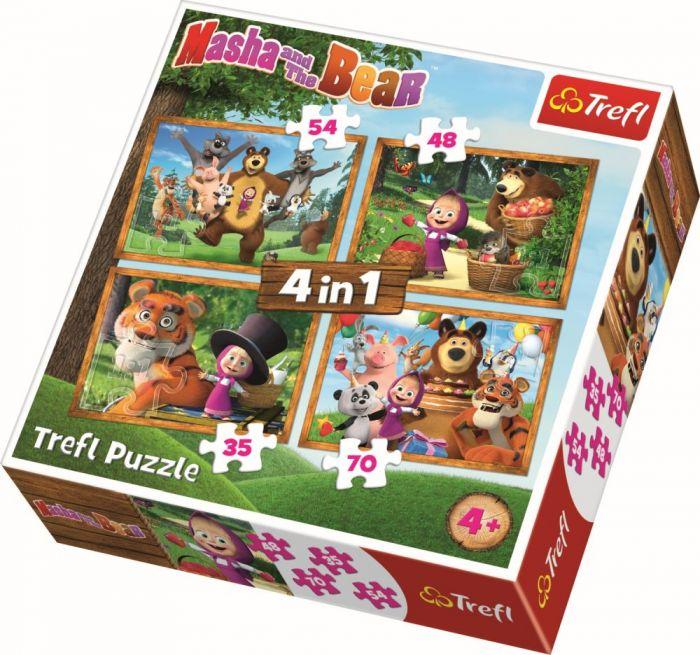 Puzzle 4 in 1 Masha aventuri in padure Trefl, 207 piese, 4 ani+