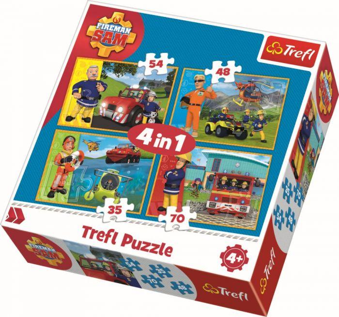 Puzzle 4 in 1 Pompierul Sam in actiune Trefl, 207 piese, 4 ani+