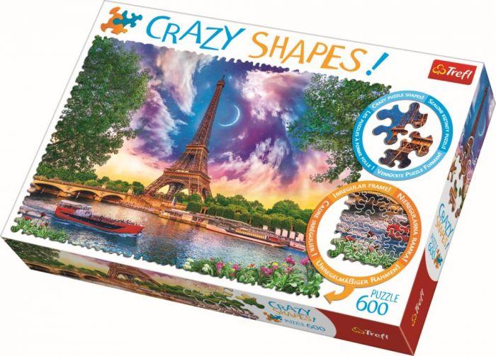 Puzzle cu piese ciudate Cer de poveste la Paris Trefl, 600 piese, 14 ani+