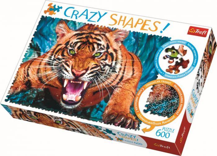 Puzzle cu piese ciudate  Fata in fata cu tigrul Trefl, 600 piese, 14 ani+