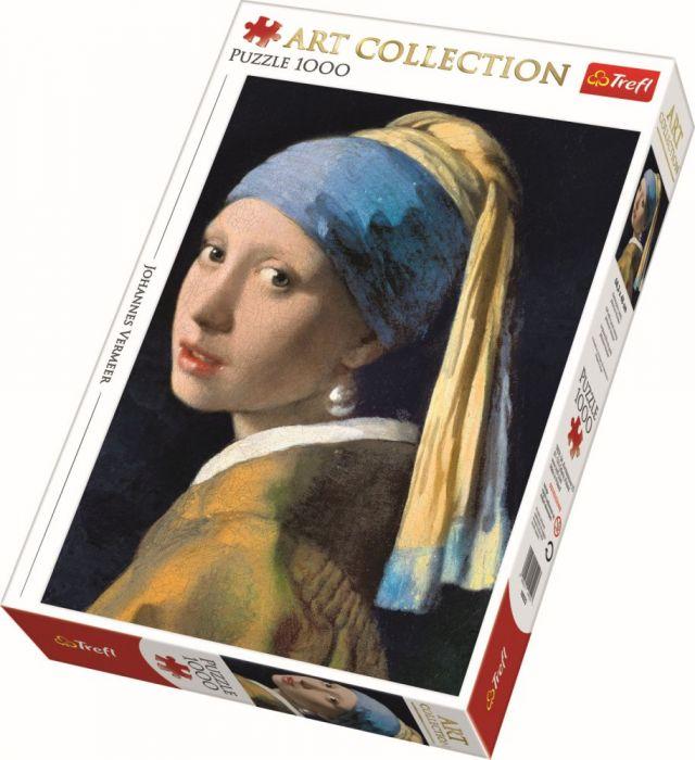 Puzzle Fata cu cercel de perla Trefl , 1000 piese, 14 ani+