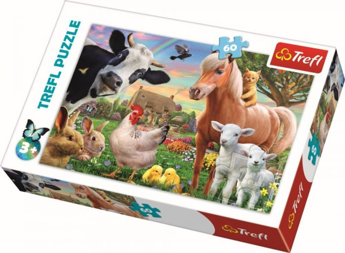 Puzzle Ferma fericita Trefl, 60 piese, 3 ani+