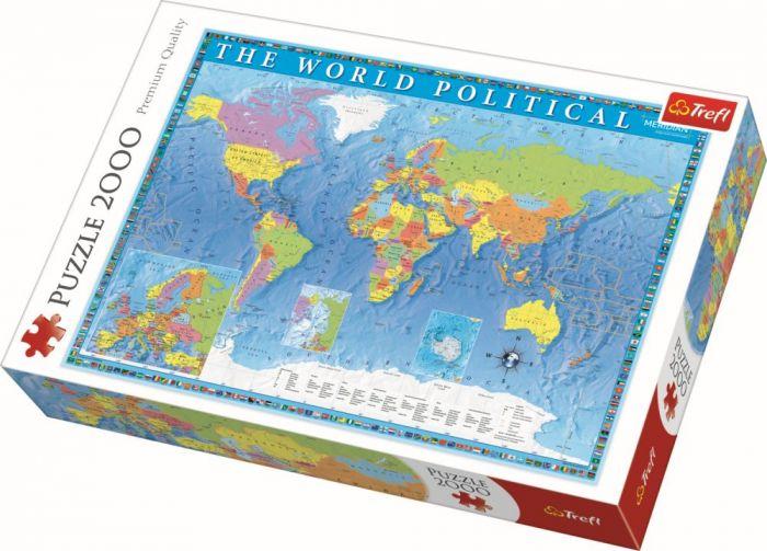 Puzzle Harta politica a lumii Trefl, 2000 piese, 15 ani+