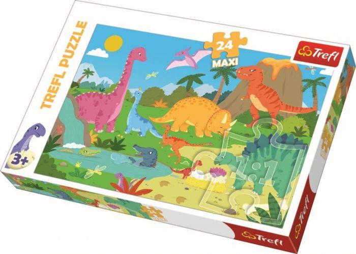 Puzzle maxi In lumea dinozaurilor Trefl, 24 piese, 3 ani+