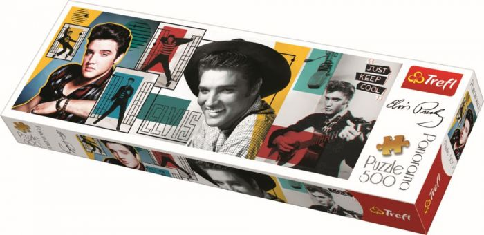 Puzzle panorama colaj Elvis Presley Trefl, 500 piese, 15 ani+