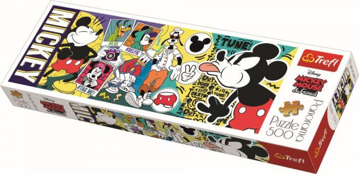 Puzzle panorama Legendarul Mickey Mouse Trefl, 500 piese, 14 ani+