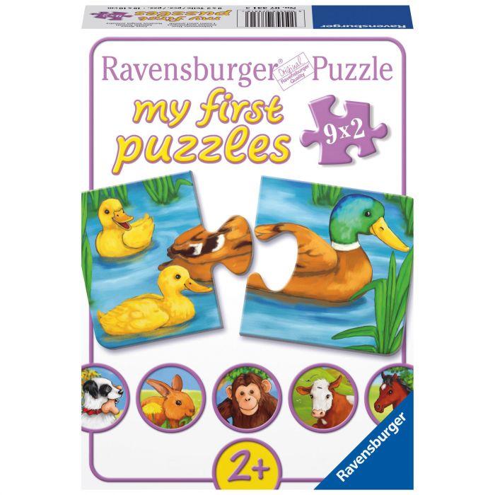 puzzle animale cu pui 2 piese ravensburger
