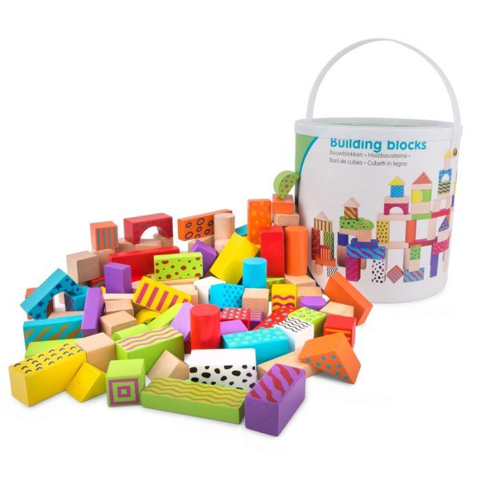 Set de cuburi New Classic Toys, din lemn, 100 buc, 24 luni+