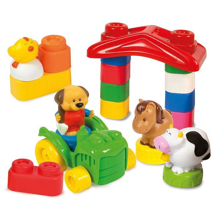 set ferma vesela cuburi moi constructie vaca cal tractor pui clemmy