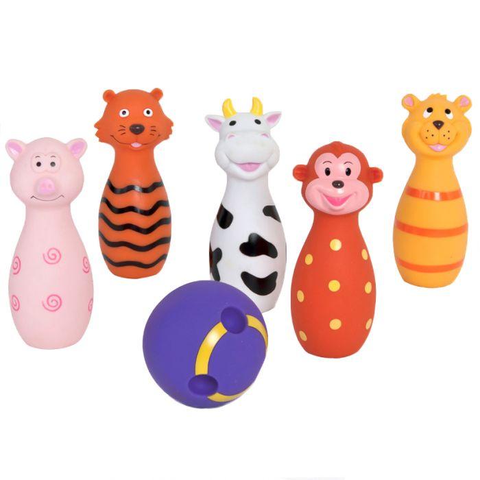 Set popice cu animalute LUDI soft vaca porc tigru minge DOM-LUD3455