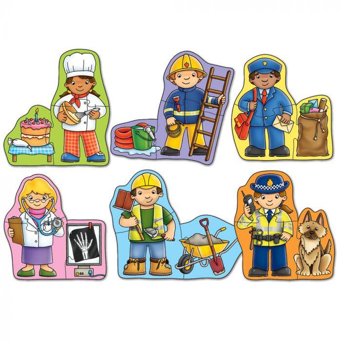 set puzzle doua piese meserii politist postas doctor pompier bucatar constructor zidar