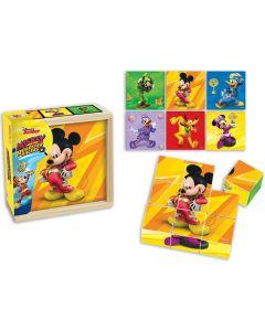 Puzzle cuburi Mickey si pilotii de curse 9 piese Mickey Mouse